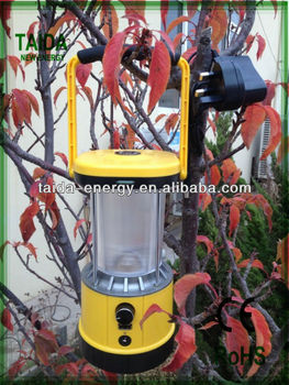 Solar Lamp Portable Rechargeable Lantern with USB Socket and AC Charger