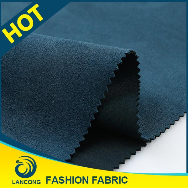 Factory price Small MOQ Knit <strong>poly</strong> suede 370 gsm fabric