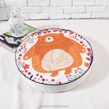 Factory direct sales hand-painted floral bear illustration futon cushion cotton linen round yoga cushion backrest floor cushion