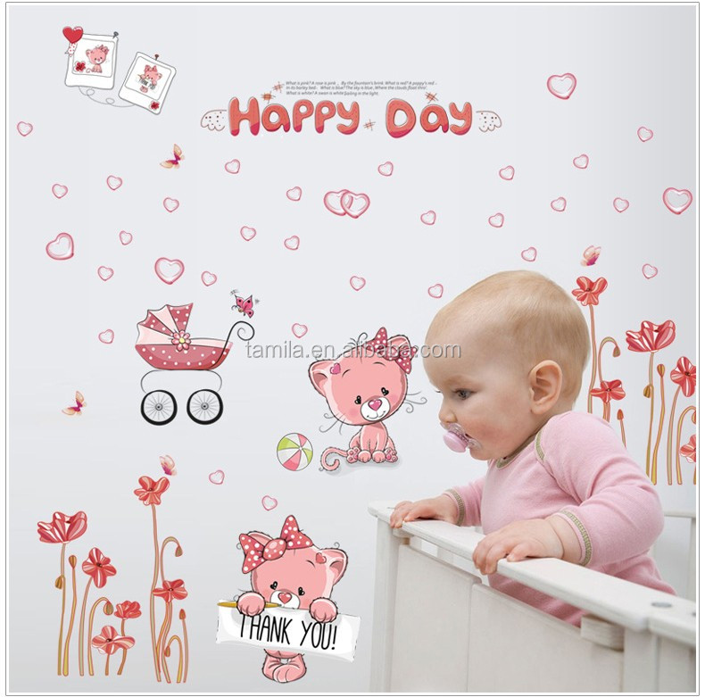 Customized creative PVC bedroom cute cat cartoon wall stickers