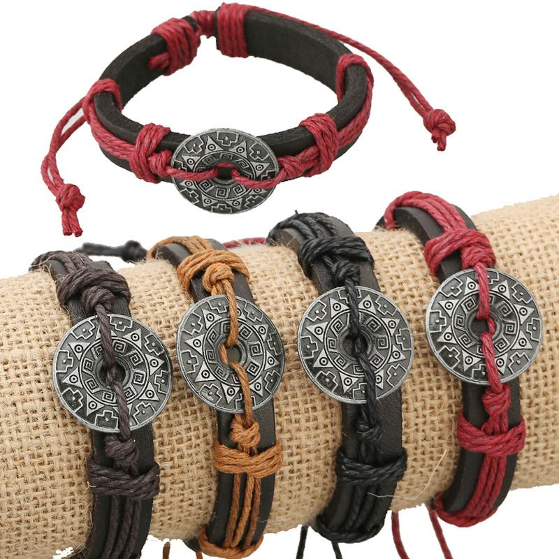 Alloy flower accessories hand woven leather bracelet men and women Bracelet Yiwu jewelry wholesale four color optional