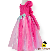 Remake Handmade Kids Hot Pink Tulle Chiffon Bubble Sleeve Puffy Model Design Princess Baby Girl Party Dress