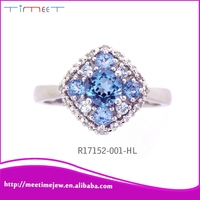 Wholesale 925 silver ring sterling silver fashion jewelry, Crystal Inlaid Blue Stone Finger Ring
