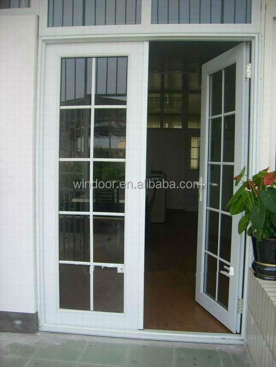 Interior cheap door white color pvc door grids style pvc for Cheap pvc door
