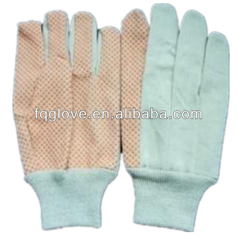 FQGLOVE pvc dots cotton canvas drill gloves