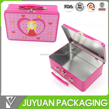 custom lunch tin box with lock and plastic handle