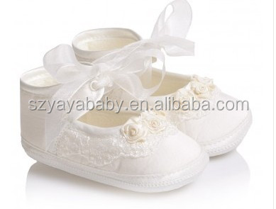 white baby dress shoes YAYA BABY white satin flower baby shoes