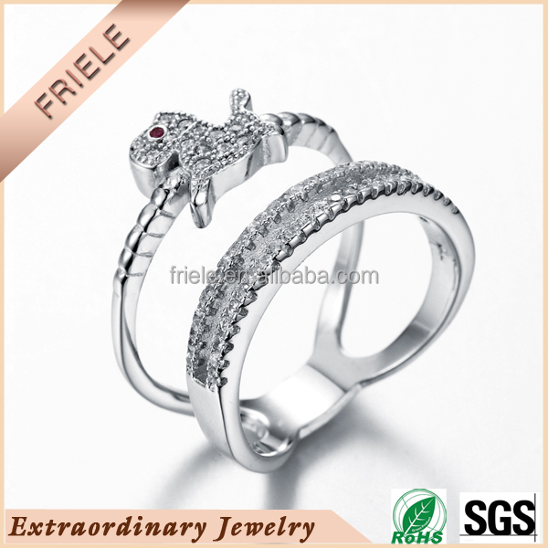 Double ring designed Cute little puppy ring wholesale 925 sterling silver Jewelry with AAA Zircon