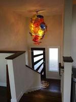 Art Blown Glass Material Elegant Staiwell Chandelier Lamp