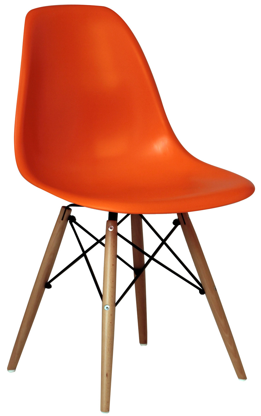 Modern Chair Polypropylene Seat and Beech Wood Legs Eiffel Replica