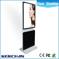 42inch free standing touch screen totem display, media player telivision with moving wheels