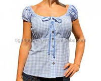 Trachten Oktoberfest Bavarian Traditional Ladies Shirt/Blouse blue check