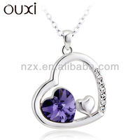 OUXI double Heat shape teenager costume fashion necklace jewelry 10690