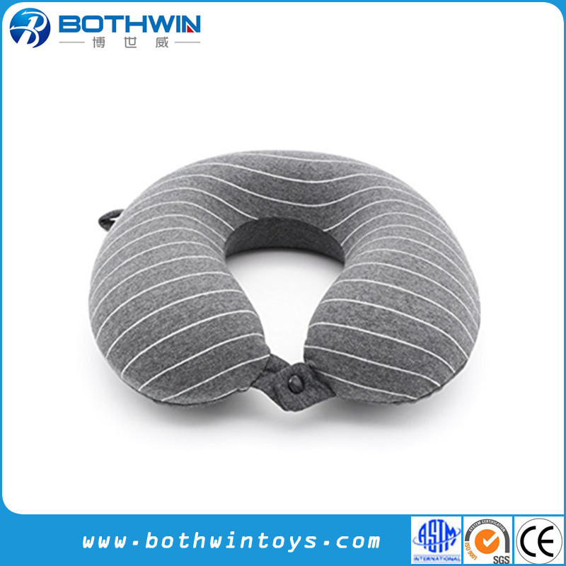 Head and Chin Support Stripe Memory Foam Personalized Travel Neck Pillow