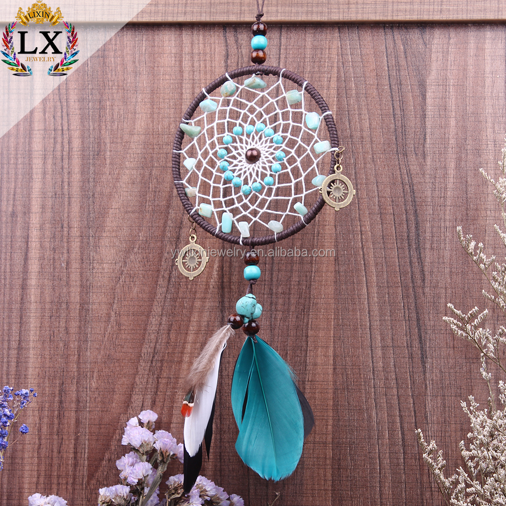 DLX-00004 factory supplier 10cm chinese dream catcher feather dreamcatcher feather beads natural turquoise stone beads