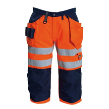 High visibility shorts for men cotton drill reflective safety workwear