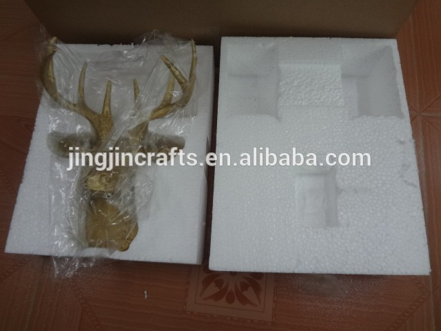 2017 home decoration white and gold table top resin deer head