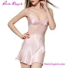 2017 Harness First Night Silk Sleep Dress Pink Sexy Nighty