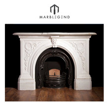Hot sell carved cultured marble fireplace surround for indoor