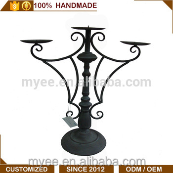 MYEE Antique Fancy iron floor standing candle holders