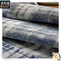 100%cotton print denim fabric with check in china
