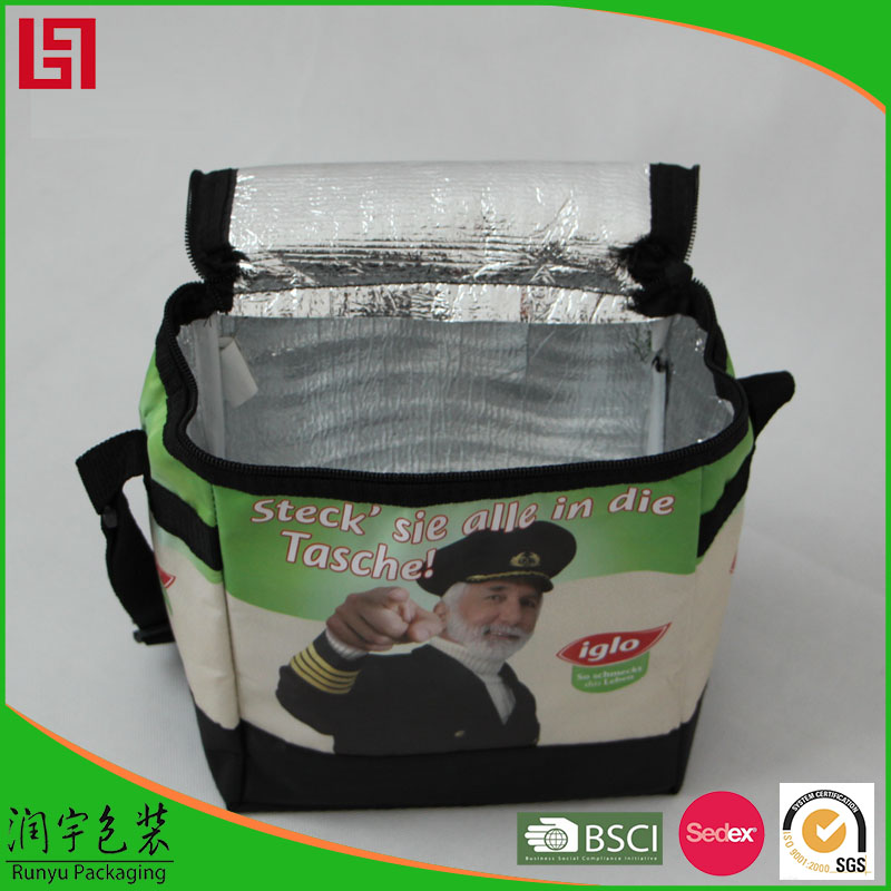 With EPE foam & Aluminium foil igloo cooler bag printing all over the
