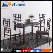 Luxury 10mm Top Tempered Modern Glass Dining Table Set with 4 Chairs