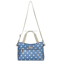 2016 wholesale blue polka dot printed designers diaper bag with shoulder straps, baby diaper bag organizer
