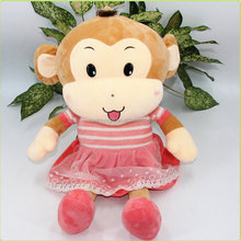 Best reliable monkey supplier ,precious dress plush stuffed toy princess girl monkey doll