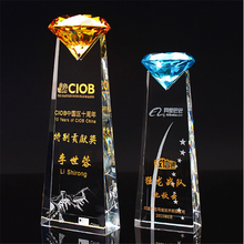 New Design crystal Trophy delicacy diamond Crystal Award With Base