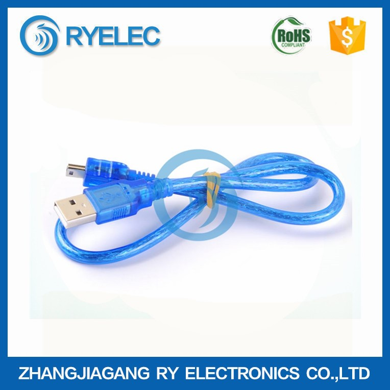 high quality USB 2.0 to T type head mini B 5p transparent data cable