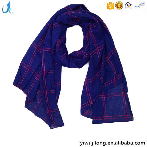 Classic new fashion crossing plaid kniting TR viscose lady scarf