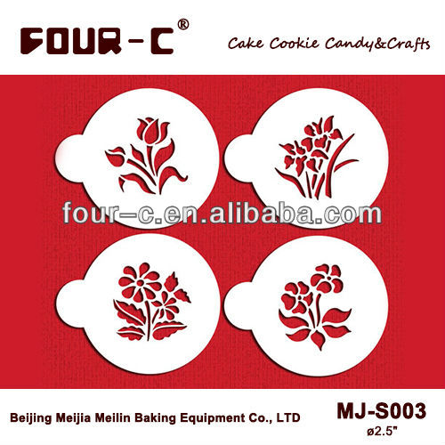Garden flowers Cup Cake Stencils Cookie and Coffee Stencils Set