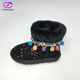Wholesale Latest Cheap Black Beautiful Fake Fur Flat Snow Boots For Girls