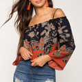 New fashion long sleeve plain knitted ladies off shoulder tops chiffon printed blouse