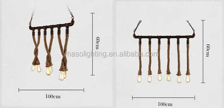 Lost Industrial Water Pipe Edison Pendant Lights for Bar Resturant Coffee shop decor Antique finish Hemp Rope Retro Droplight