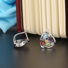 925 Sterling Silver Muilti Color Genuine Gems Clip on Earring Amethyst,Topaz,Peridot,Citrine,Garnet Mix or single