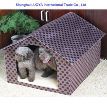 Custom made low price coffee color hard board house shaped dog kennel