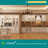 Full Overlay Cream Wooden Kitchen Cabinet FOR SALE