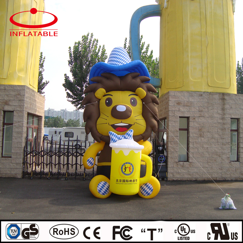 advertising inflatable decoration cartoon, inflatable event mascot, inflatable lion cartoon for beer festival