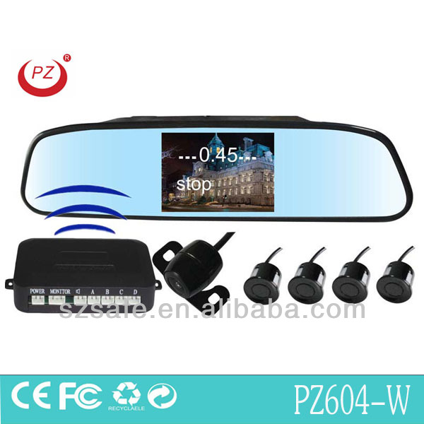 wireless car backup reverse camera and 4.3inch lcd mirror with 4 waterproof sensors