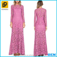 2016 New Design Ladies Long Sleeve Long Lace Evening Dress