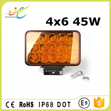 Rectangle high-low beam 4x6 45w 5inch amber led headlight dot approved