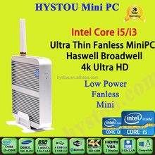 Fanless Mini PC Barebone Computers 4th Gen Core i3 4010u 300MB Wi-Fi HD4400 GPU Ultra HD 4K resolution
