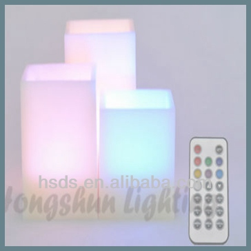 Square Pillar Multicolor Rainbow Color Energy Saving Paraffin Wax Led Candle for wedding decoration