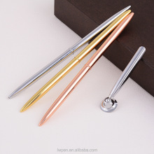 Fashion rose gold long metal stick ball pen metal twist ball pen slim