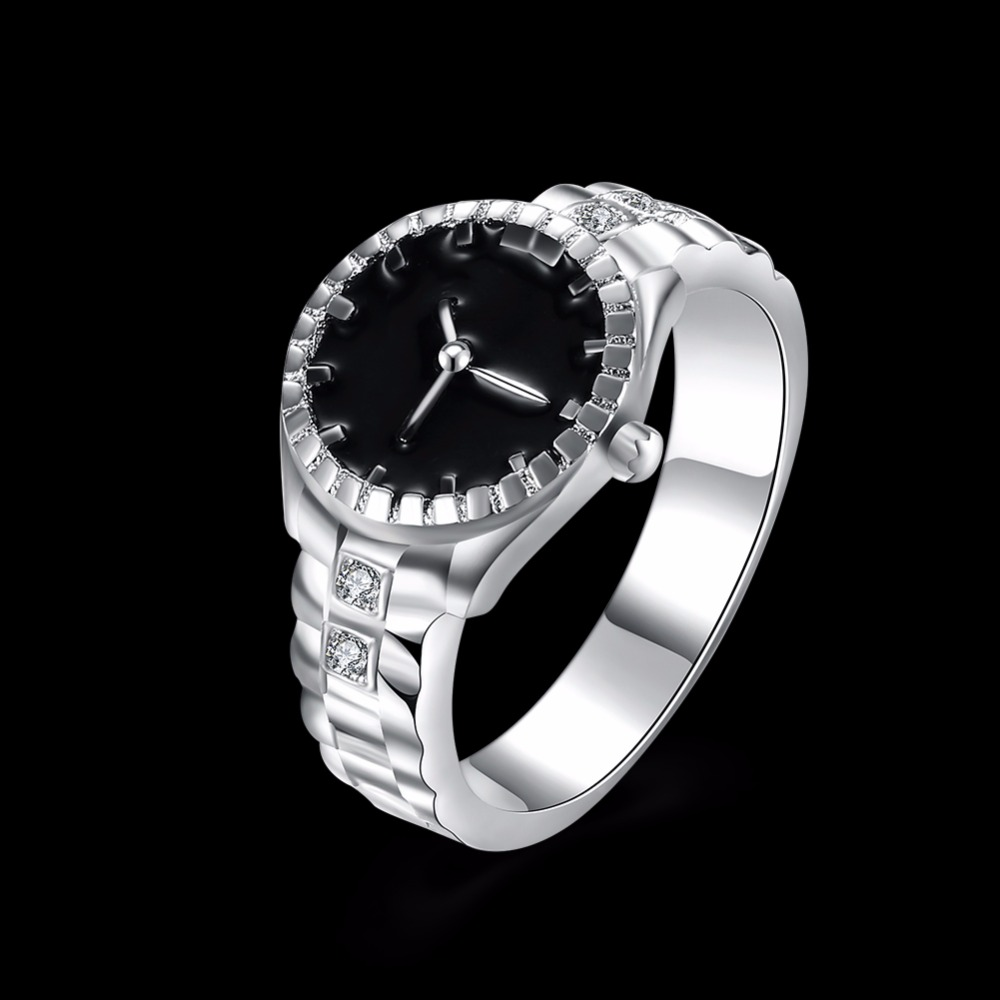 Creative Clock-shaped diamond silver ring personality ring clock top selling 2017 jewelry ring C045