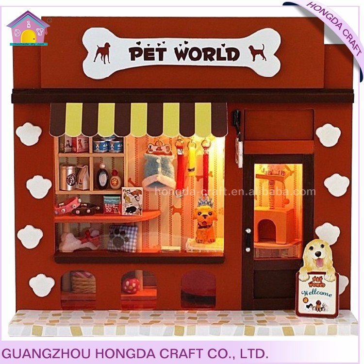 Handcrafted decoration mini pet store miniature house for sale