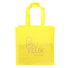 New product customized logo printing foldable reusable cheap yellow tote non woven shopping bag