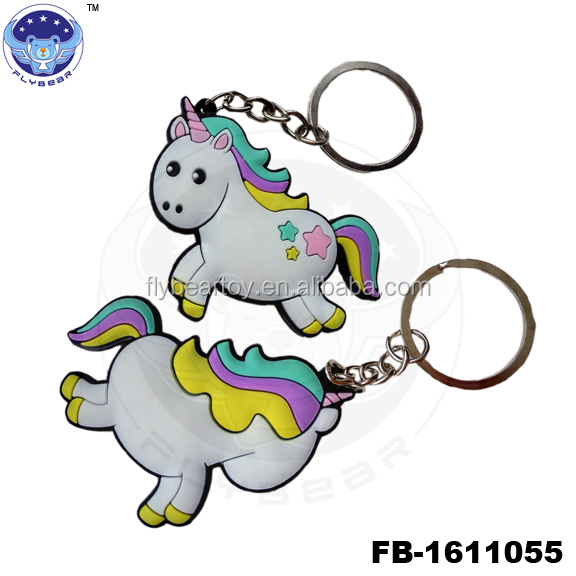 2017 PVC Unicorn key chain of foreign trade creative small pendant key ring
